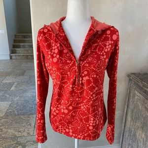 Red Lucy Tech Half Zipped Hoodie